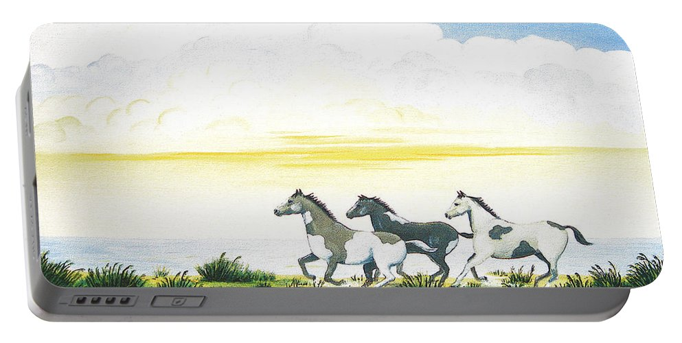 Chincoteague Portable Battery Charger featuring the painting Indian Ponies by Jerome Stumphauzer