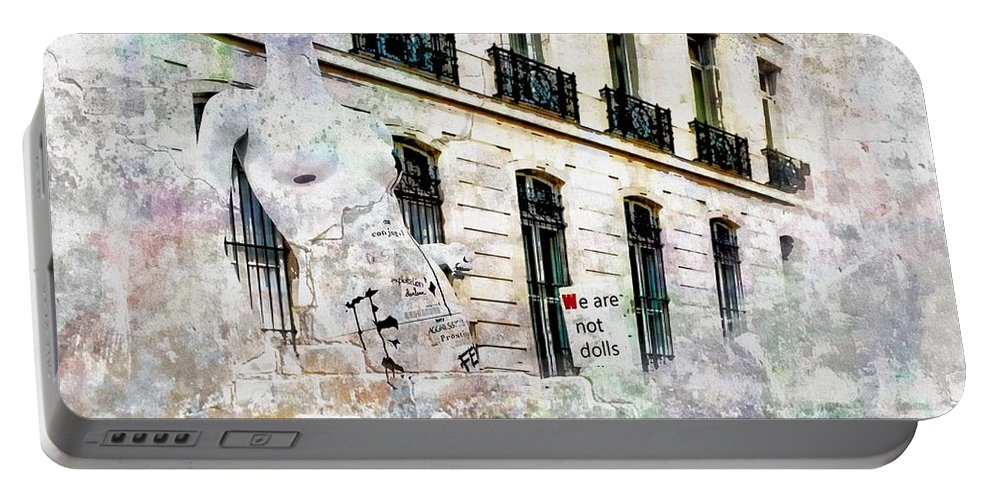 Graffiti Portable Battery Charger featuring the photograph International Women's Day 2 by Jean Francois Gil