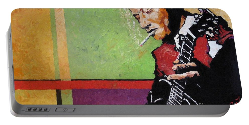 Jazz Portable Battery Charger featuring the painting Jazz Guitarist by Yuriy Shevchuk