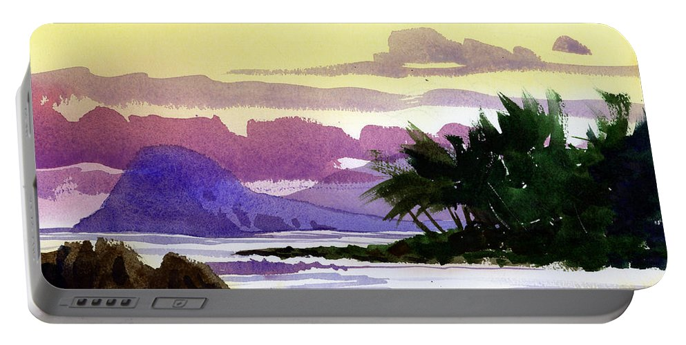 Shoreline Portable Battery Charger featuring the painting Ko Olina Sunset by Lee Klingenberg