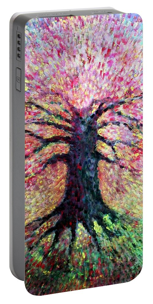 Colour Portable Battery Charger featuring the painting Ladies With Me All by Wojtek Kowalski