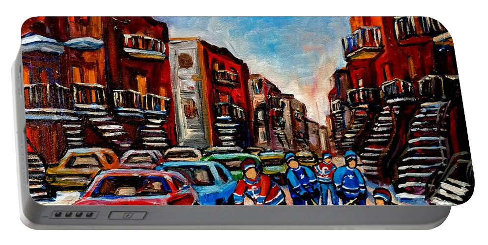 Montreal Portable Battery Charger featuring the painting Late Afternoon Street Hockey by Carole Spandau