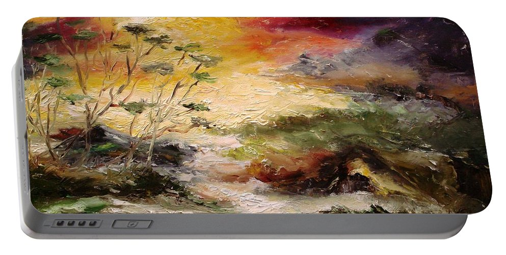 Landscape Portable Battery Charger featuring the painting Light Comes by Rushan Ruzaick