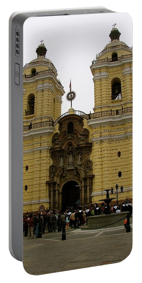 Lima Portable Battery Charger featuring the photograph Lima Peru Church by Brett Winn