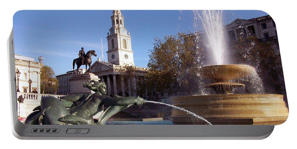 Trafalgar Square Portable Battery Charger featuring the photograph London - Trafalgar Square by Munir Alawi