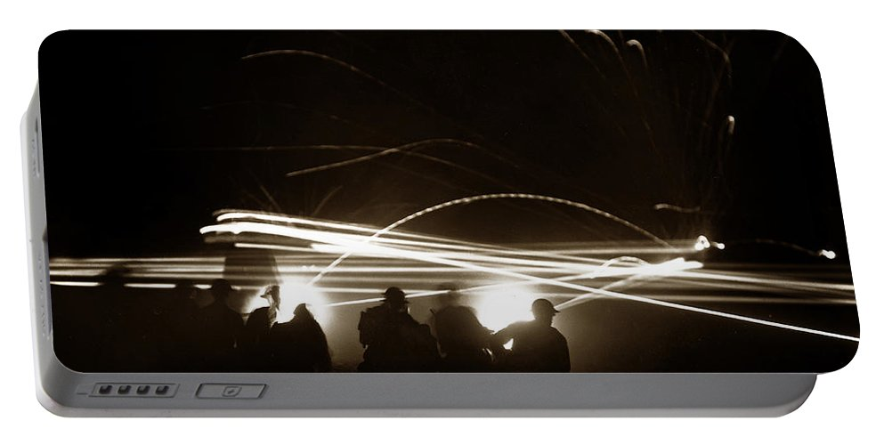 Night Firing Portable Battery Charger featuring the photograph Night Firing Of Machine Gun Tracer Fire Fort Ord Circa 1942 by California Views Archives Mr Pat Hathaway Archives