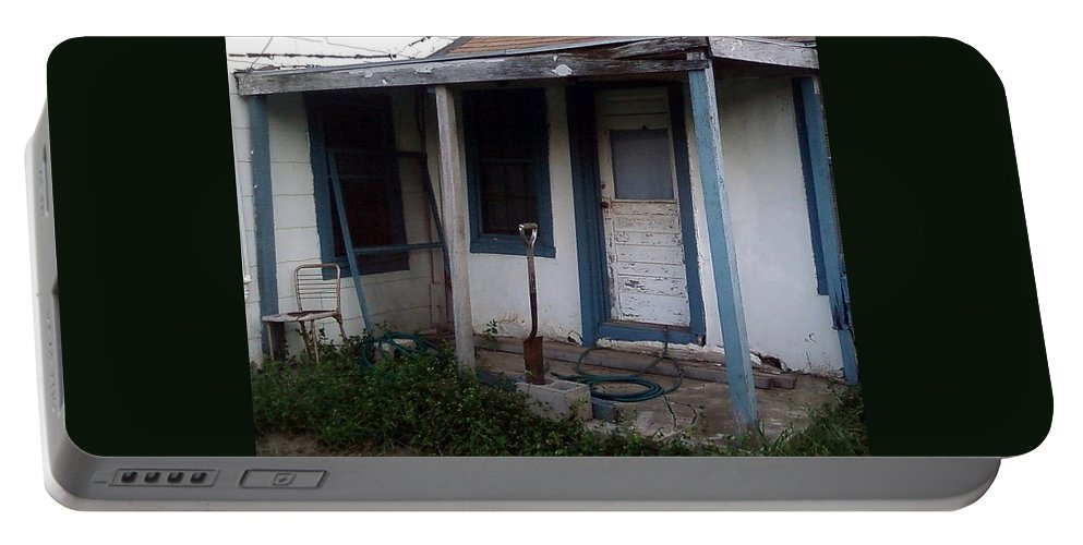 Porch Shovel Chair Window Door Blue Abandoned Portable Battery Charger featuring the photograph Old Porch by Cindy New