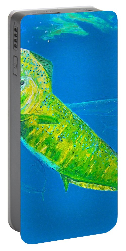 Dolphin Portable Battery Charger featuring the painting Prized Dolphin Painting by Ken Figurski