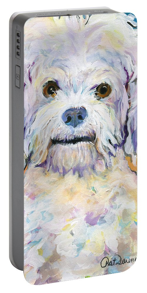 Poodle Portable Battery Charger featuring the painting Snowball by Pat Saunders-White