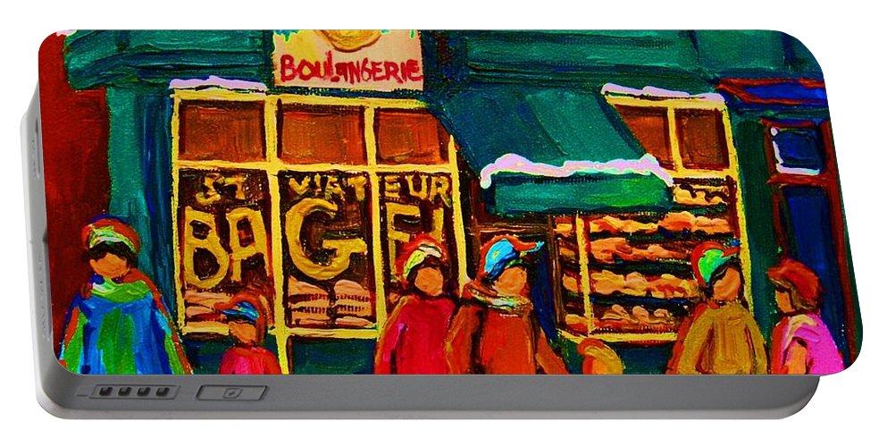 St. Viateur Bagel Portable Battery Charger featuring the painting St. Viateur Bagel Family Bakery by Carole Spandau