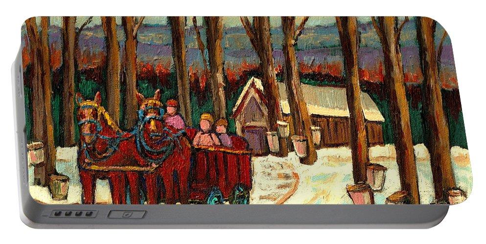 Sugar Shack By Carole Spandau Portable Battery Charger featuring the painting Sugar Shack by Carole Spandau