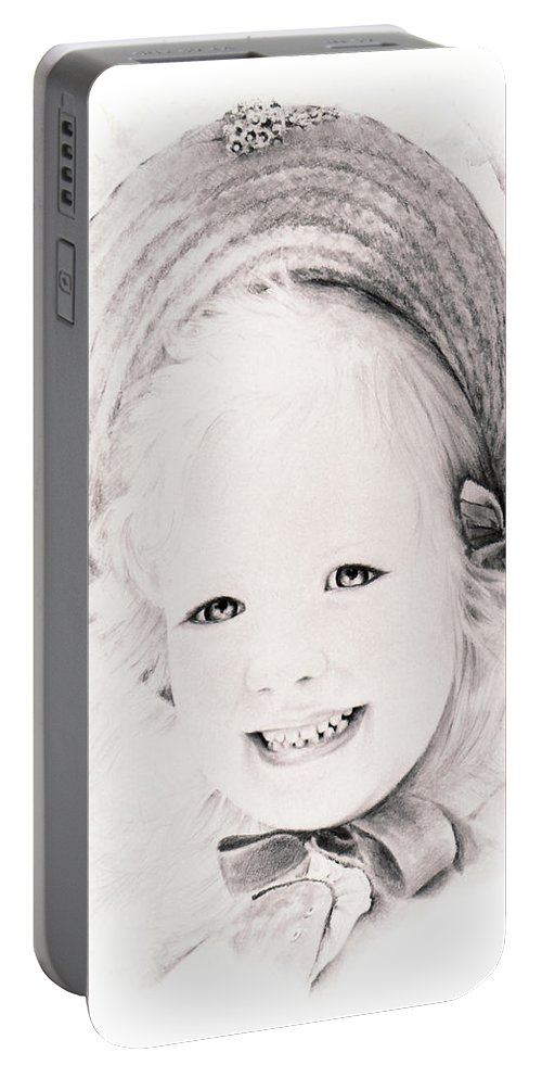 Portrait Portable Battery Charger featuring the drawing  Trudy by Rachel Christine Nowicki