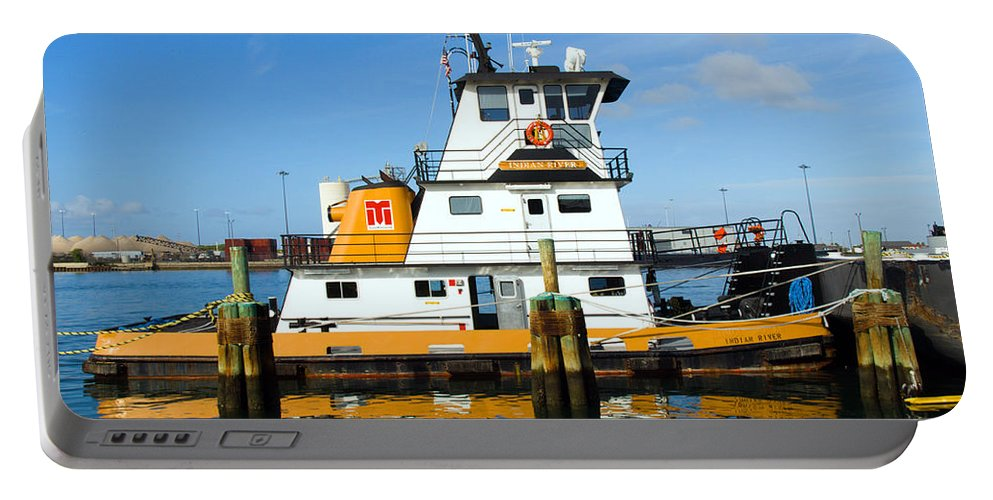 Florida; East; Space; Coast; Tug; Boat; Tugboat; Tow; Towboat; Pusher; Pushes; Push; Cargo; Fuel; Oi Portable Battery Charger featuring the photograph  Tug Indian River Is Part Of The Scene At Port Canvaeral Florida by Allan Hughes