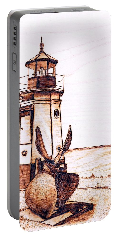 Lighthouse Portable Battery Charger featuring the pyrography Vermilion Lighthouse by Danette Smith