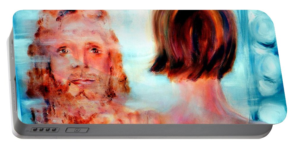 Jesus Christ Portable Battery Charger featuring the painting  Your Face Lord I Will Seek by Sandy Ryan