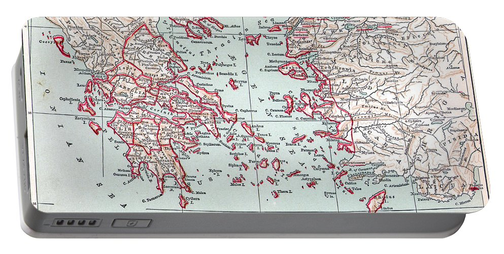 19th Century Portable Battery Charger featuring the painting Map: Ancient Greece by Granger