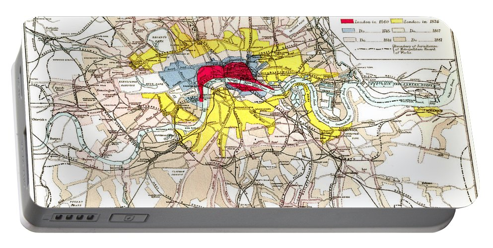 1881 Portable Battery Charger featuring the painting Map Of London, 1881 by Granger