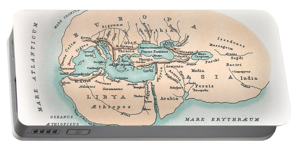 450 B.c. Portable Battery Charger featuring the painting World Map by Granger