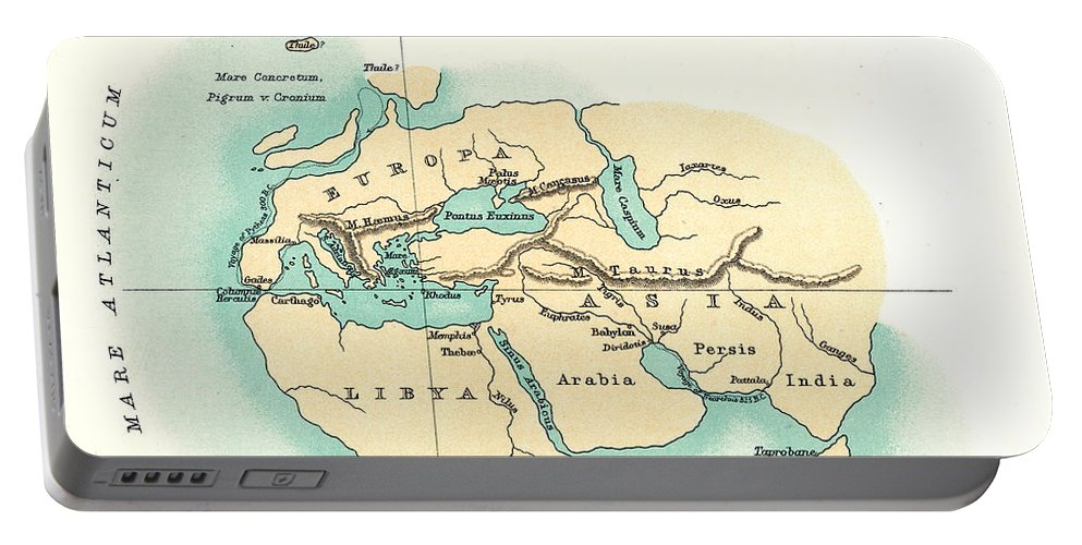 300 B.c. Portable Battery Charger featuring the painting World Map, C300 B.c by Granger