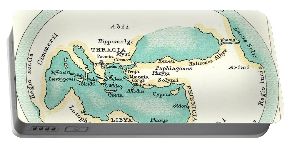 1000 B.c. Portable Battery Charger featuring the painting World Map, C1000 B.c by Granger