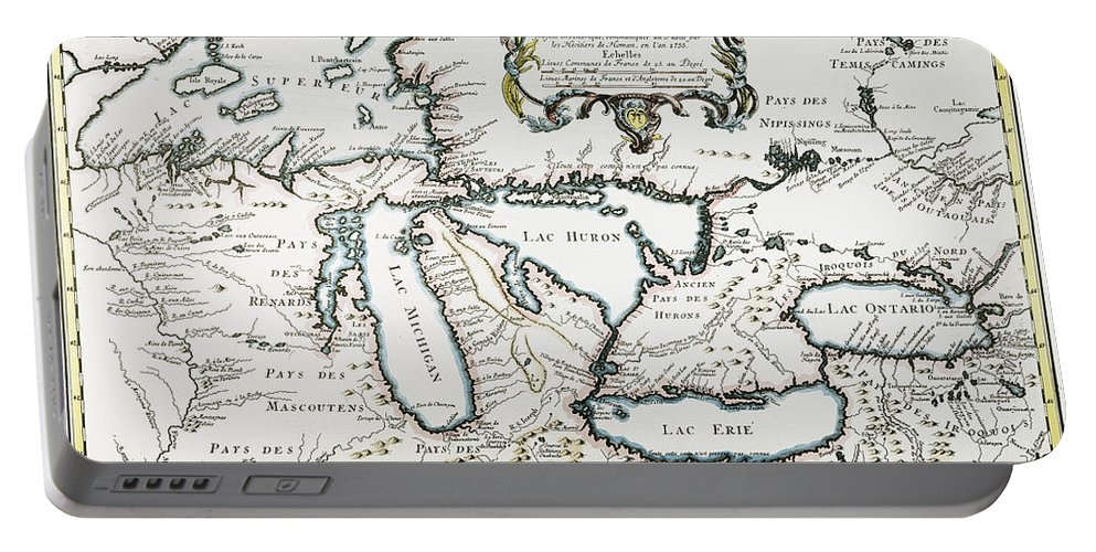 1755 Portable Battery Charger featuring the painting Great Lakes Map, 1755 by Granger
