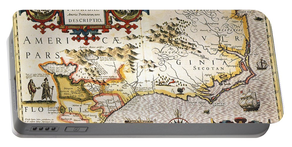 1606 Portable Battery Charger featuring the painting Map: Colonial America, by Granger