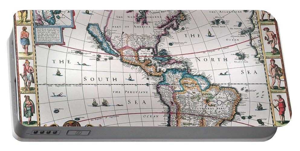 1616 Portable Battery Charger featuring the painting New World Map, 1616 by Granger