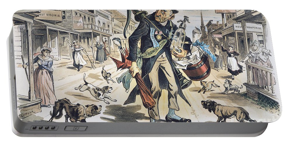 1889 Portable Battery Charger featuring the painting Prohibition Cartoon, 1889 by Granger