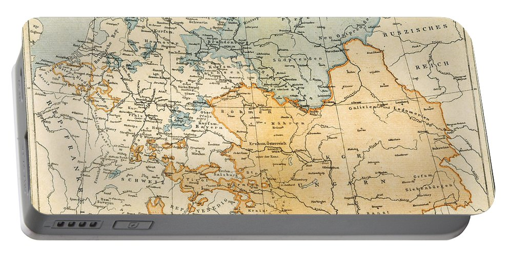 1795 Portable Battery Charger featuring the painting Austrian Empire Map, 1795 by Granger