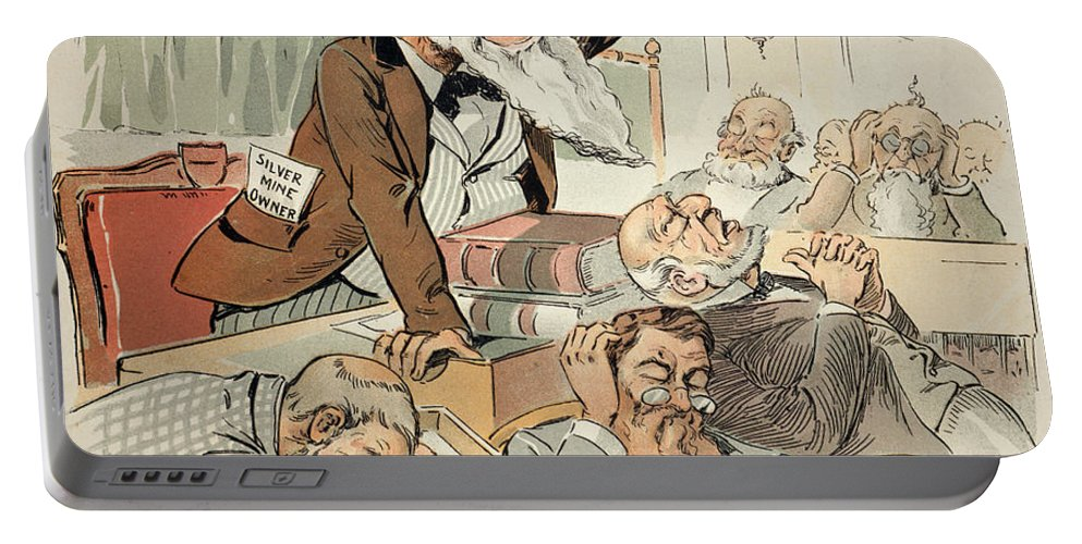 1893 Portable Battery Charger featuring the painting Senate Cartoon,free Silver by Granger