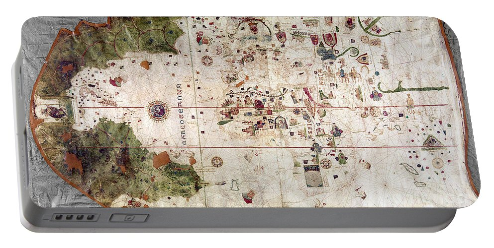 1500 Portable Battery Charger featuring the painting Nina: World Map, 1500 by Granger
