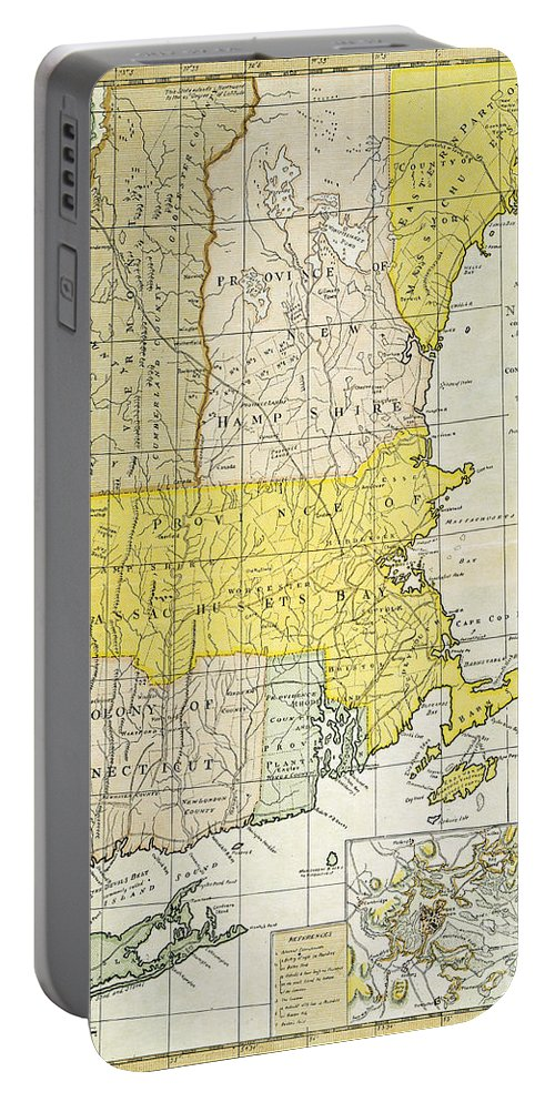 1775 Portable Battery Charger featuring the painting New England Map, C1775 by Granger