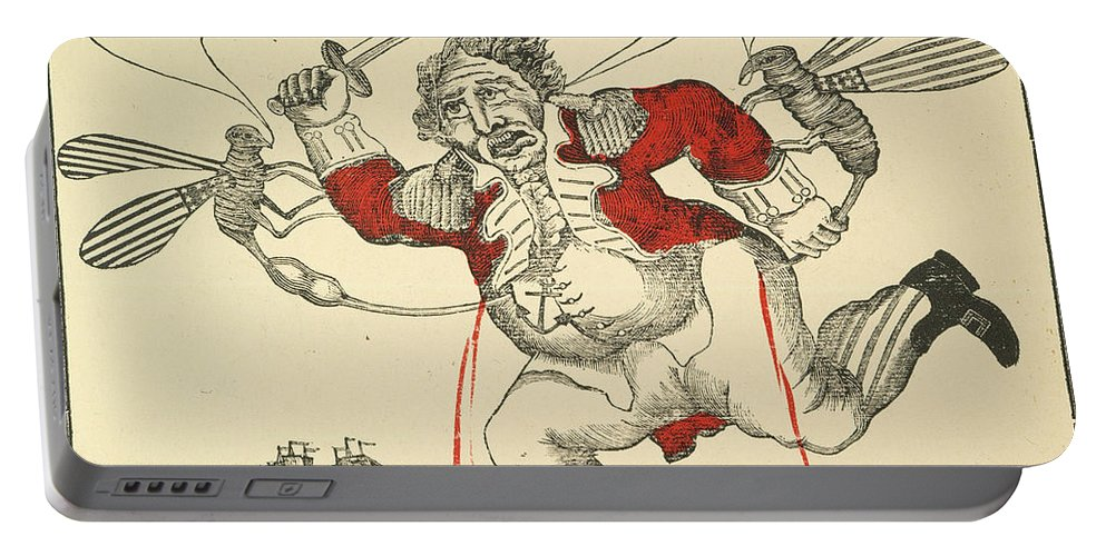 1813 Portable Battery Charger featuring the painting War Of 1812: Cartoon, 1813 by Granger