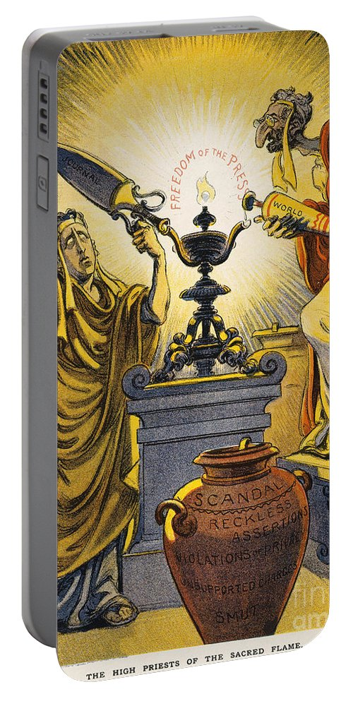 1909 Portable Battery Charger featuring the painting Yellow Journalism, 1909 by Granger