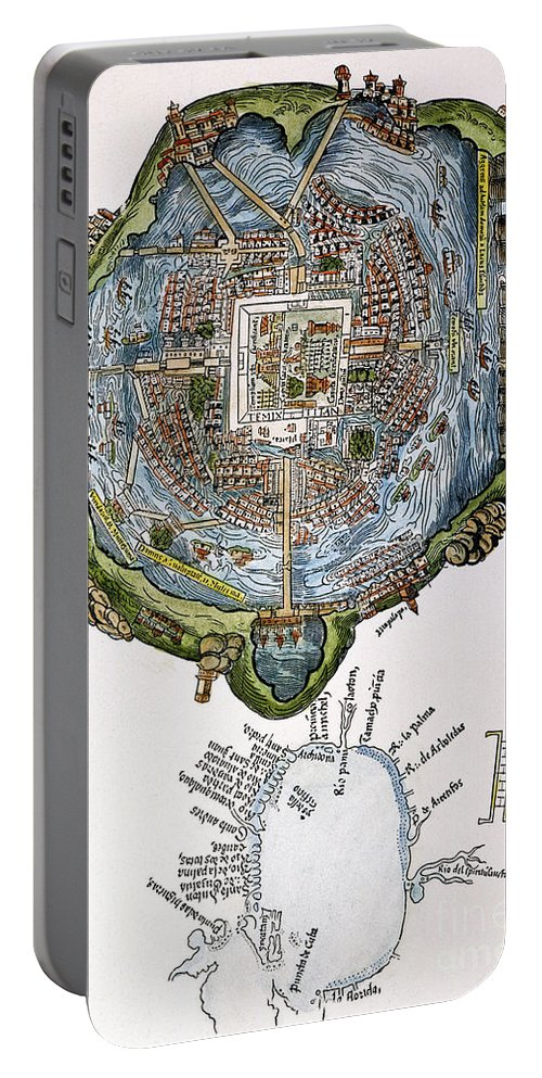 1524 Portable Battery Charger featuring the painting Tenochtitlan (mexico City) by Granger