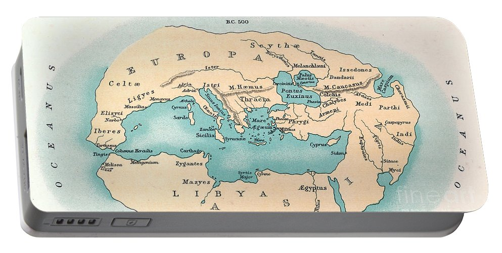 500 B.c. Portable Battery Charger featuring the painting World Map: 500 B.c by Granger