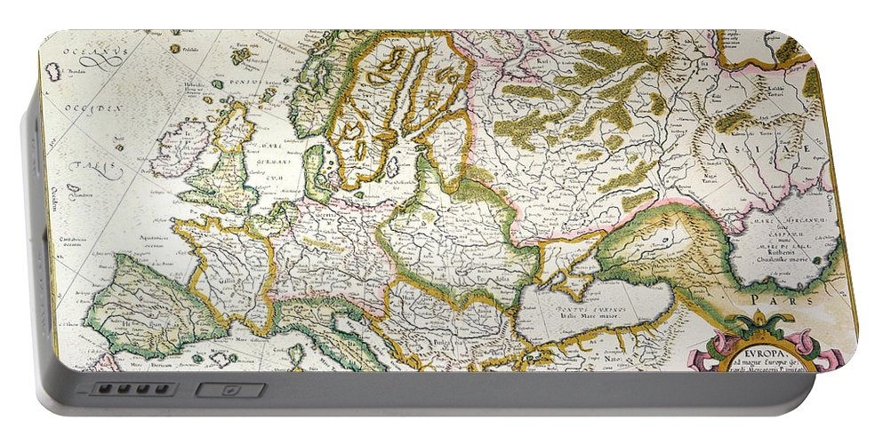 1623 Portable Battery Charger featuring the painting Map Of Europe, 1623 by Granger