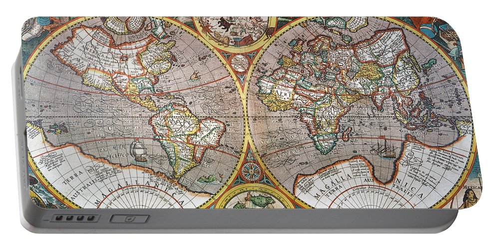 1594 Portable Battery Charger featuring the painting World Map, 1607 by Granger