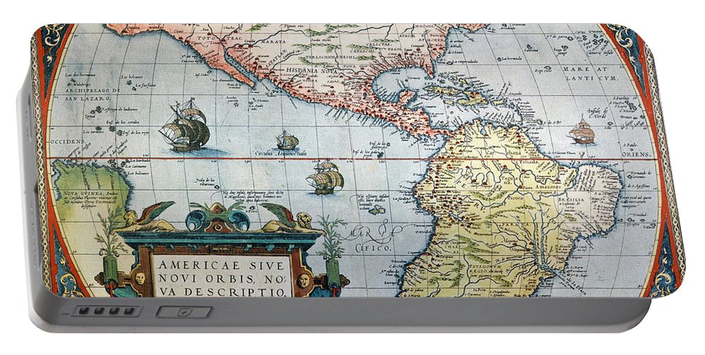 1570 Portable Battery Charger featuring the painting New World Map, 1570 by Granger