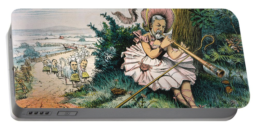 1884 Portable Battery Charger featuring the painting James Blaine Cartoon, 1884 by Granger