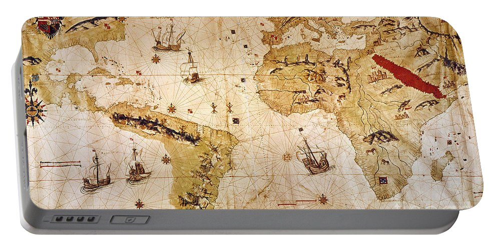 1526 Portable Battery Charger featuring the painting Vespucci's World Map, 1526 by Granger