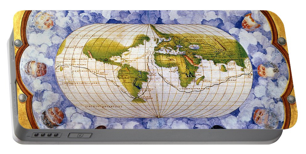 1545 Portable Battery Charger featuring the painting World Map by Granger