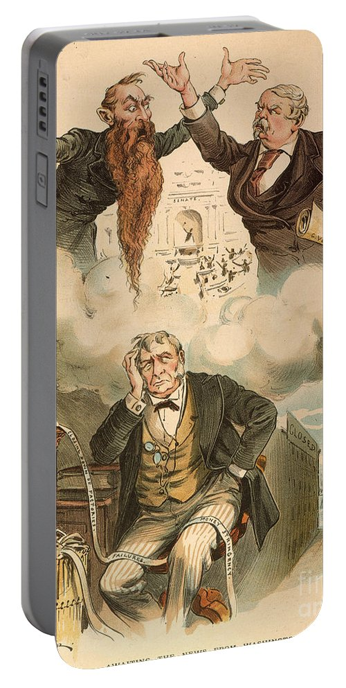1893 Portable Battery Charger featuring the painting Cartoon: Panic Of 1893 by Granger