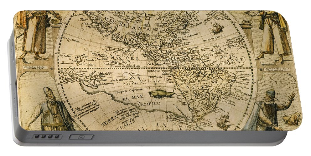 1596 Portable Battery Charger featuring the painting W. Hemisphere Map, 1596 by Granger