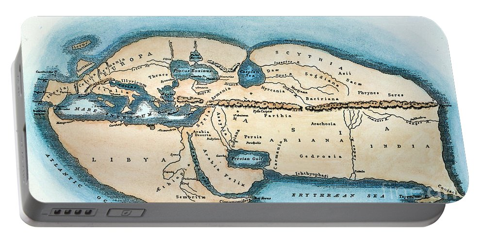 1st Century Portable Battery Charger featuring the painting Strabo World Map, C20 A.d by Granger