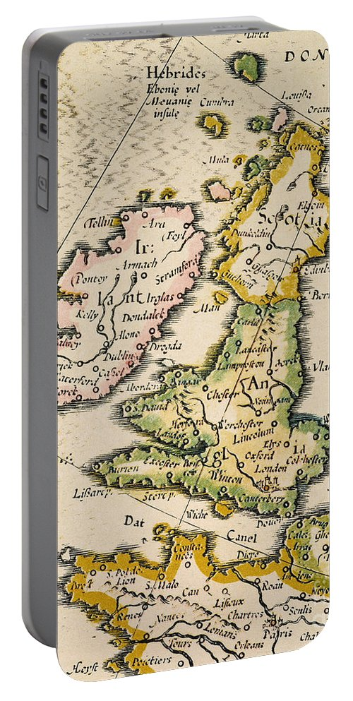 1623 Portable Battery Charger featuring the painting Map Of Great Britain, 1623 by Granger