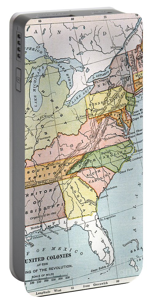 1791 Portable Battery Charger featuring the painting United States Map, C1791 by Granger