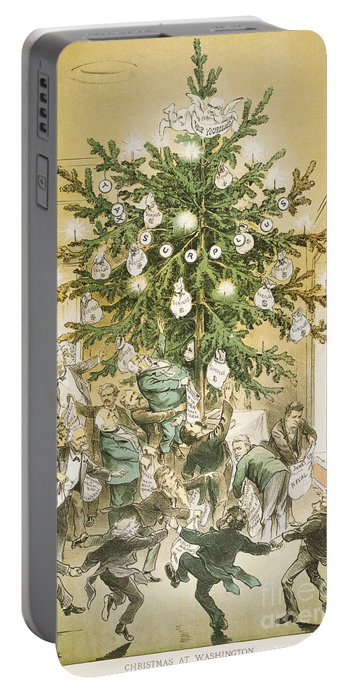 1883 Portable Battery Charger featuring the painting Treasury Cartoon, 1883 by Granger