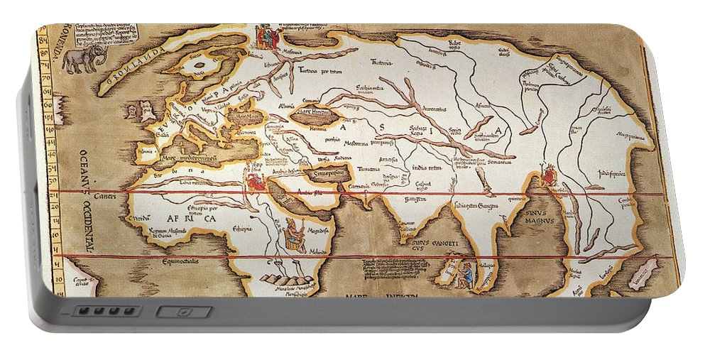 1535 Portable Battery Charger featuring the painting Waldseemuller: World Map by Granger