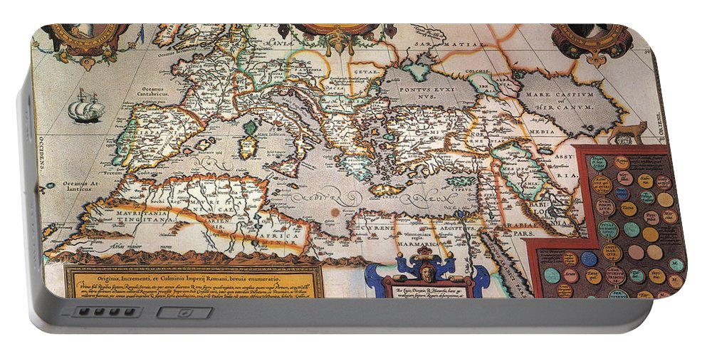 1595 Portable Battery Charger featuring the painting Map Of The Roman Empire by Granger